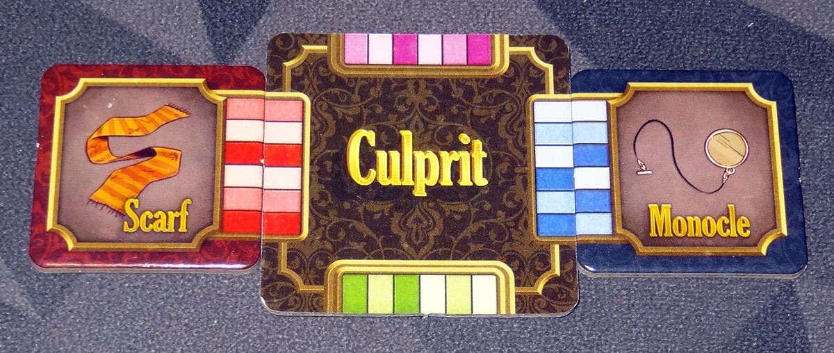 5-Minute Mystery culprit with clue tiles