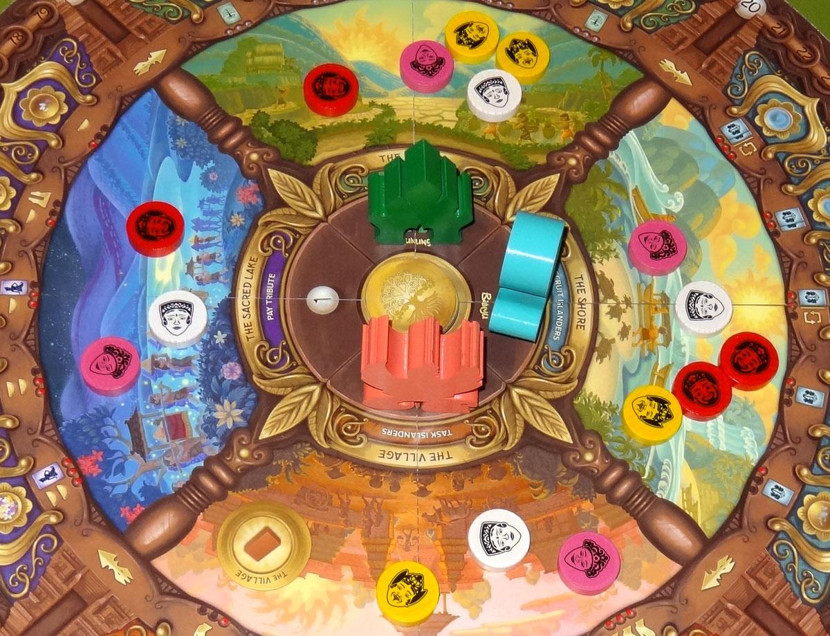 Buru board with explorer tokens in the four regions
