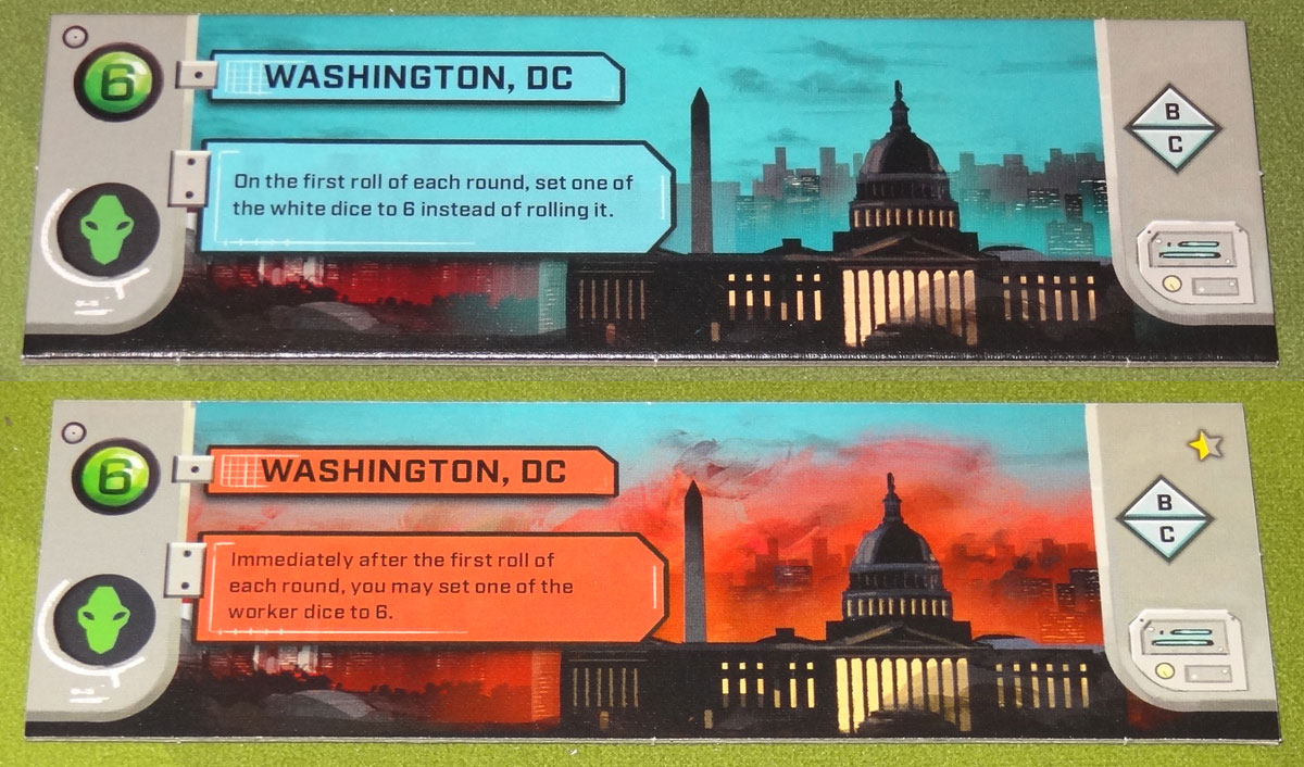 Under Falling Skies Washington DC tile, front and back