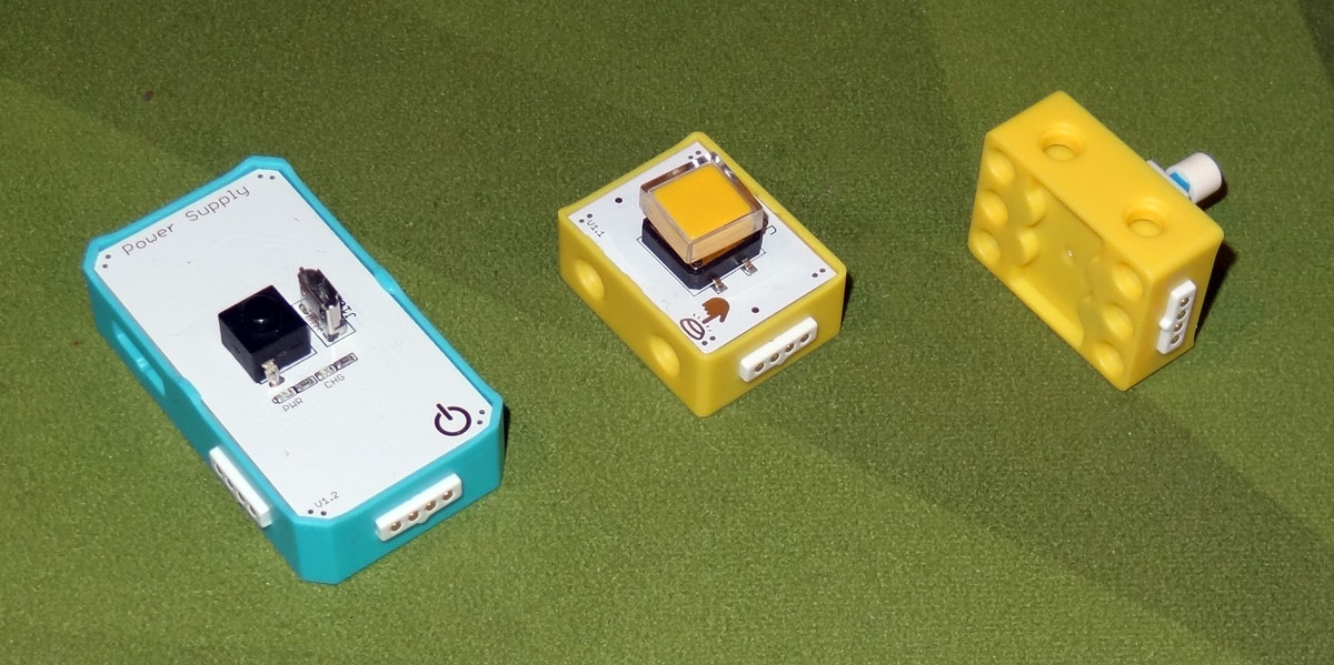Crowbits modules: power source, button, and switch