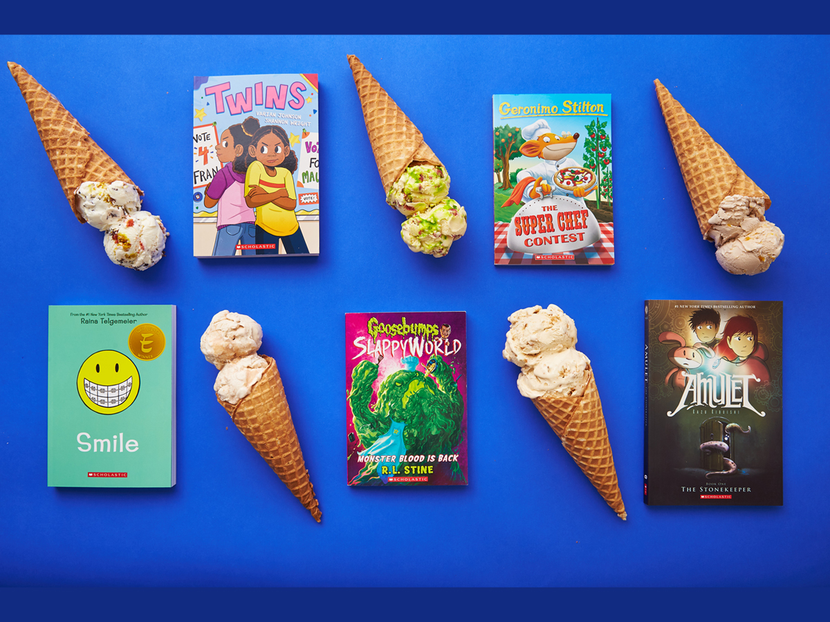 Scoops of Stories - ice cream cones with book covers