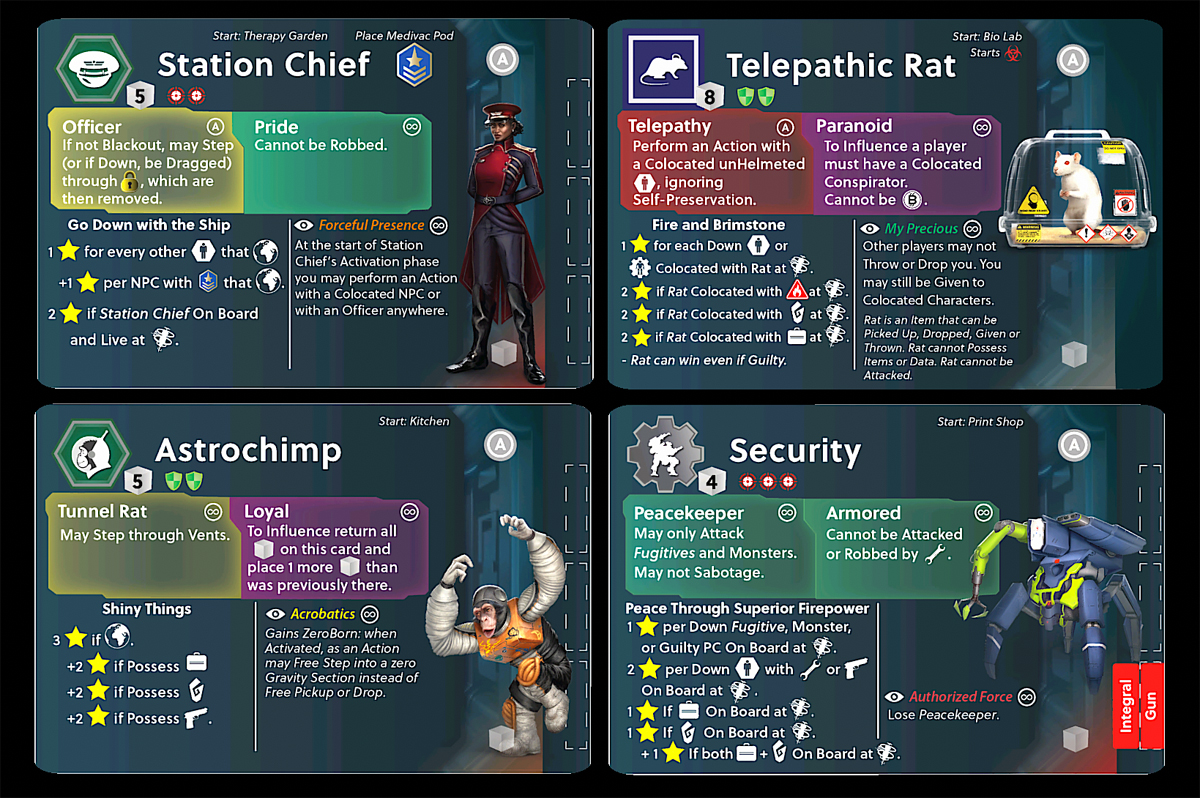 Stationfall Character cards