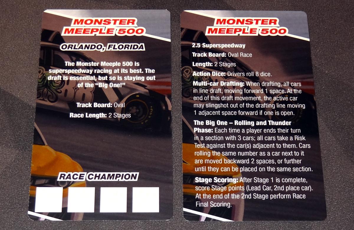 Thunder Rolls Monster Meeple 500 race cards