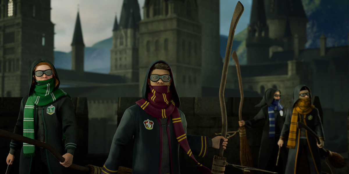 Select your avatar and gear representing your Hogwarts house before climbing onto your own broom for a flight.