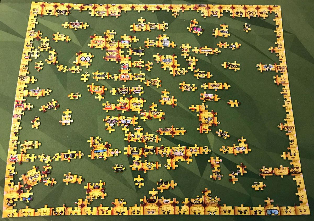 LEGO Minifigure Faces puzzle in progress