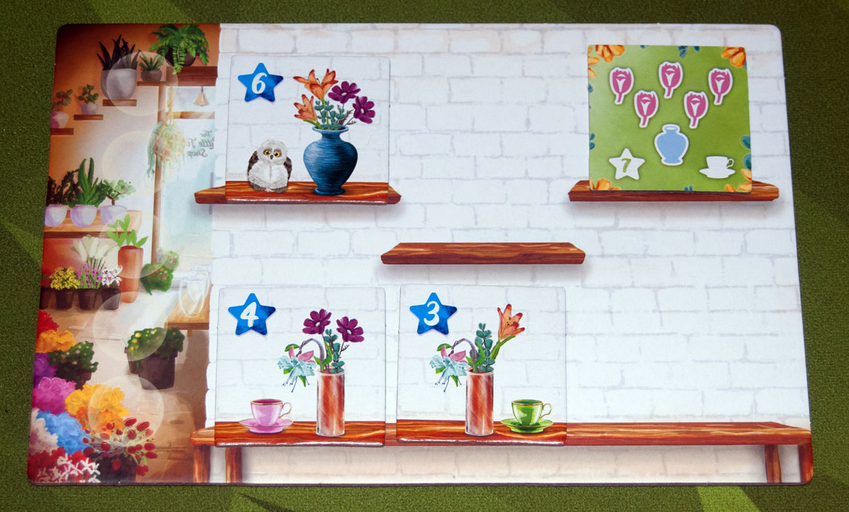 The Little Flower Shop Dice Game player board