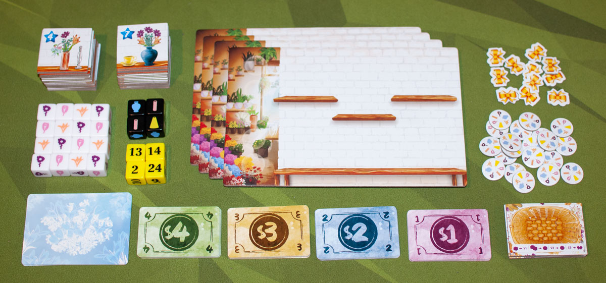 The Little Flower Shop Dice Game components