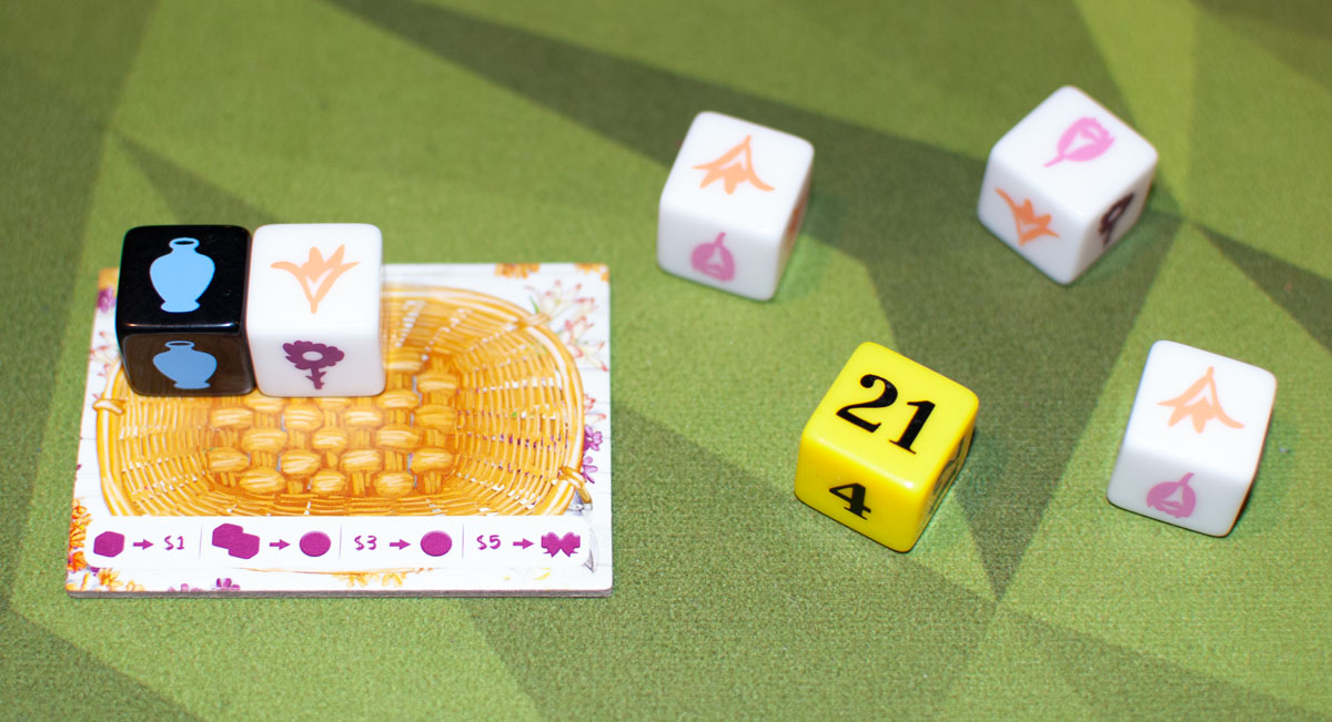 The Little Flower Shop Dice Game basket with dice