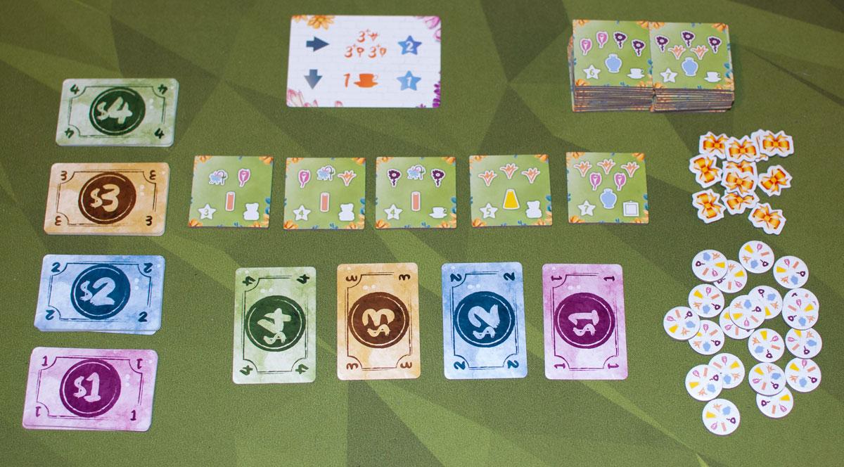 The Little Flower Shop Dice Game setup