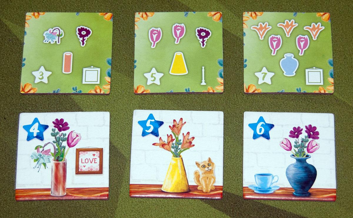 The Little Flower Shop Dice Game arrangement tiles