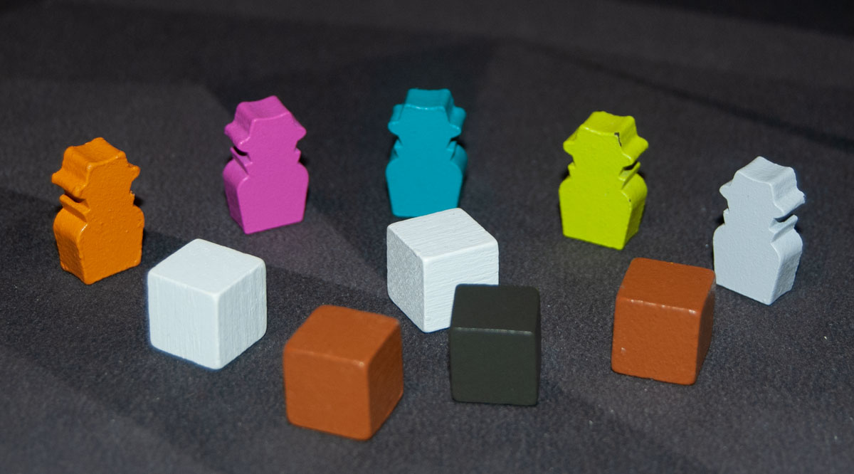 The Feds meeples and wooden cubes