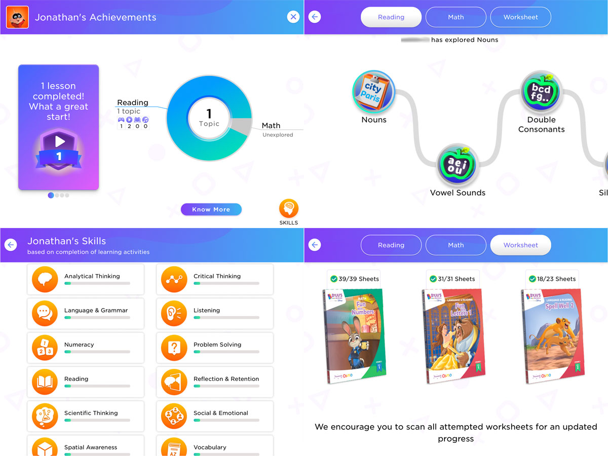 Byju's Learning App progress report screens
