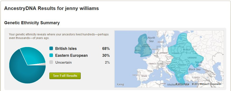 My original AncestryDNA results.